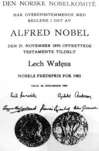 Nobelpreisurkunde für Lech Walesa (1983)